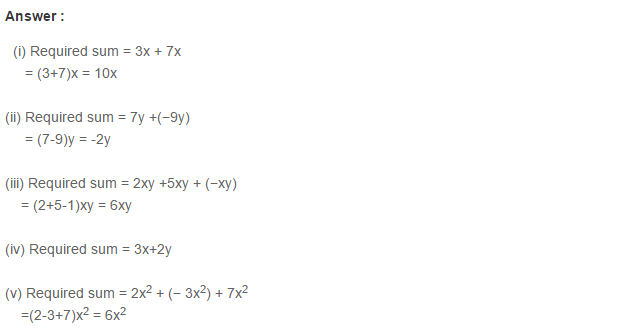 Algebraic Expressions RS Aggarwal Class 6 Maths Solutions Exercise 8C 1.1