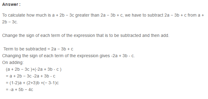 Algebraic Expressions RS Aggarwal Class 6 Maths Solutions Exercise 8C 12.1