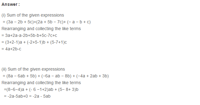 Algebraic Expressions RS Aggarwal Class 6 Maths Solutions Exercise 8C 3.1