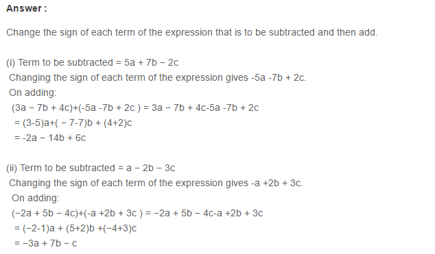 Algebraic Expressions RS Aggarwal Class 6 Maths Solutions Exercise 8C 5.1