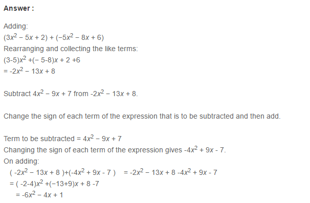 Algebraic Expressions RS Aggarwal Class 6 Maths Solutions Exercise 8C 7.1