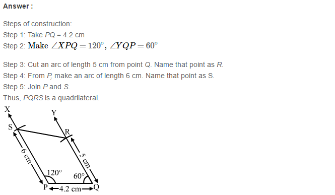 Construction of Quadrilaterals RS Aggarwal Class 8 Maths Solutions CCE Test Paper 18.1