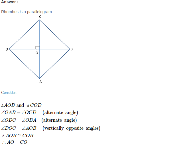 Construction of Quadrilaterals RS Aggarwal Class 8 Maths Solutions CCE Test Paper 5.1