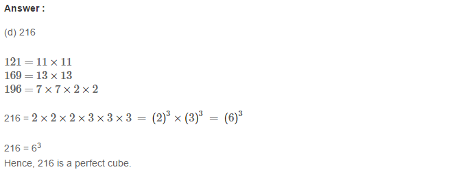 Cubes and Cube Roots RS Aggarwal Class 8 Maths Solutions CCE Test Paper 6.1