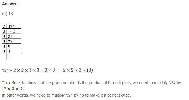 Cubes and Cube Roots RS Aggarwal Class 8 Maths Solutions CCE Test Paper 9.1