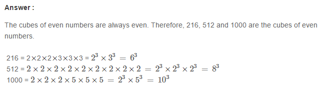 Cubes and Cube Roots RS Aggarwal Class 8 Maths Solutions Ex 4A 5.1