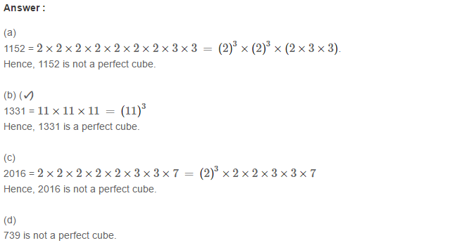 Cubes and Cube Roots RS Aggarwal Class 8 Maths Solutions Ex 4D 2.1