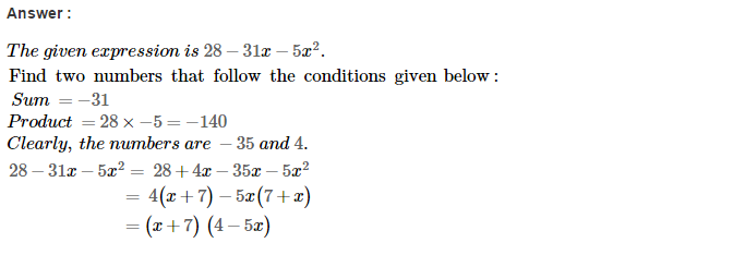 Factorisation RS Aggarwal Class 8 Maths Solutions Ex 7D 36.1