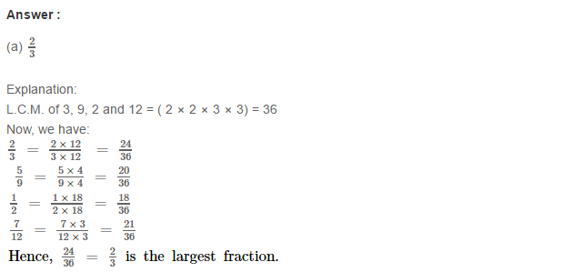 Fraction RS Aggarwal Class 6 Maths Solutions CCE Test Paper 14.1