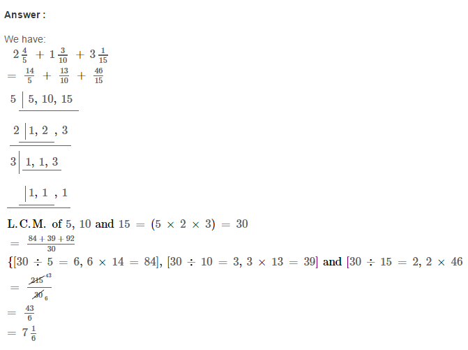 Fraction RS Aggarwal Class 6 Maths Solutions CCE Test Paper 5.1