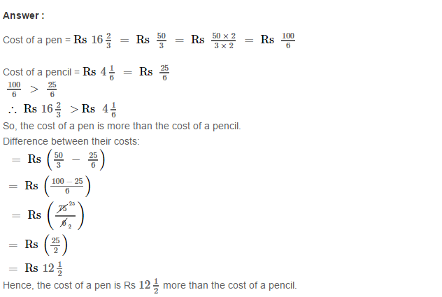 Fraction RS Aggarwal Class 6 Maths Solutions CCE Test Paper 6.1