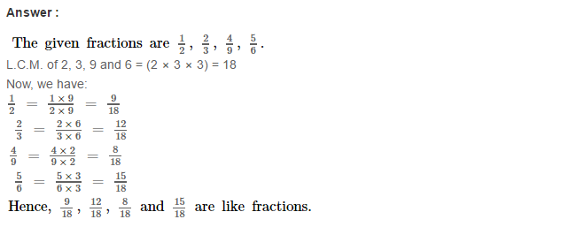 Fraction RS Aggarwal Class 6 Maths Solutions CCE Test Paper 8.1