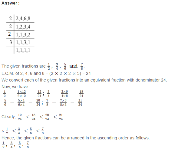 Fraction RS Aggarwal Class 6 Maths Solutions Exercise 5D 18.1