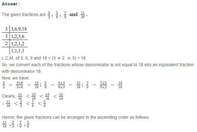 Fraction RS Aggarwal Class 6 Maths Solutions Exercise 5D 19.1