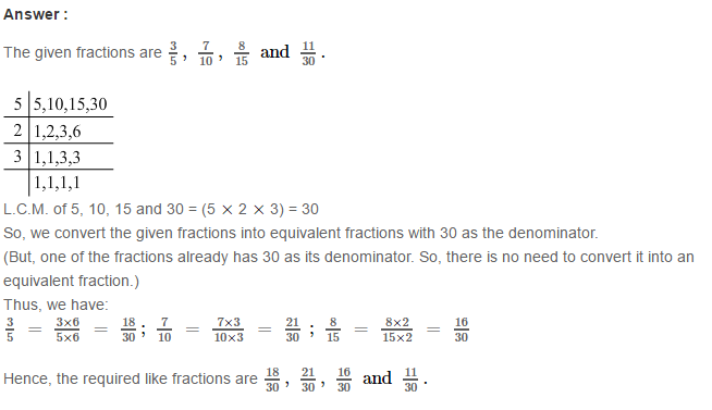 Fraction RS Aggarwal Class 6 Maths Solutions Exercise 5D 2.1