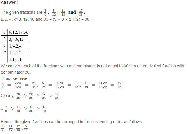 Fraction RS Aggarwal Class 6 Maths Solutions Exercise 5D 23.1