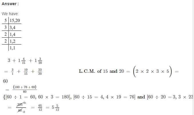 Fraction RS Aggarwal Class 6 Maths Solutions Exercise 5E 11.1