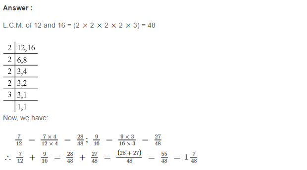 Fraction RS Aggarwal Class 6 Maths Solutions Exercise 5E 5.1