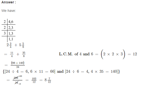 Fraction RS Aggarwal Class 6 Maths Solutions Exercise 5E 7.1