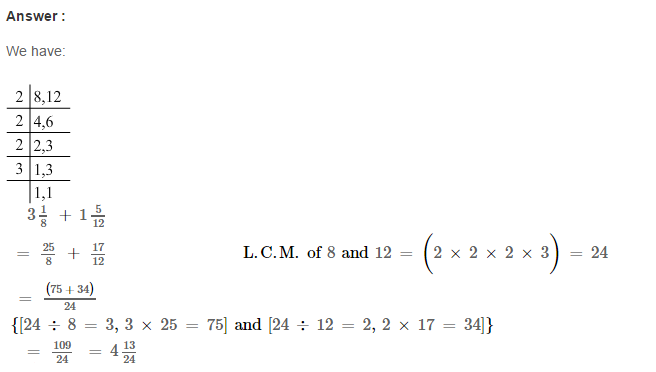 Fraction RS Aggarwal Class 6 Maths Solutions Exercise 5E 8.1