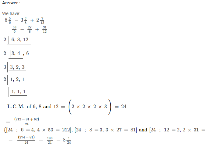 Fraction RS Aggarwal Class 6 Maths Solutions Exercise 5F 19.1