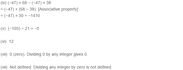 Integers RS Aggarwal Class 7 Math Solutions CCE Test Paper 7.2