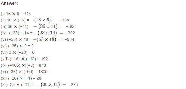 Integers RS Aggarwal Class 7 Math Solutions Exercise 1B 1.1