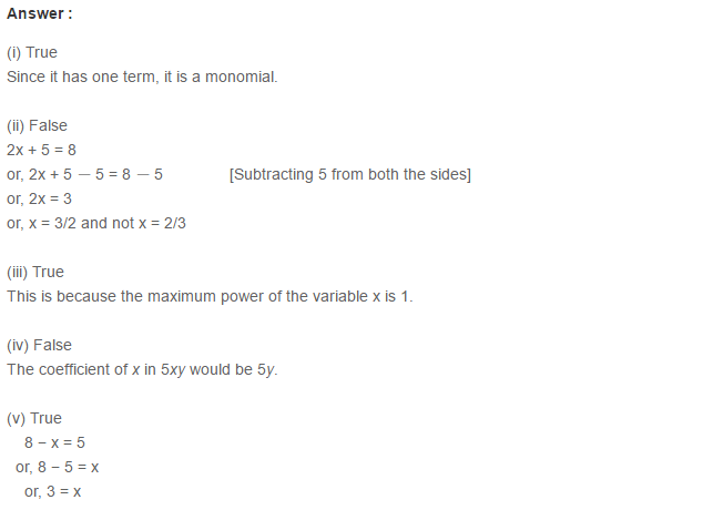 Linear Equation In One Variable RS Aggarwal Class 6 Maths Solutions CCE Test Paper 20.1