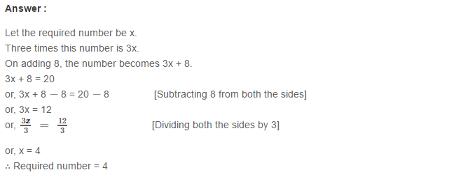 Linear Equation In One Variable RS Aggarwal Class 6 Maths Solutions CCE Test Paper 4.1