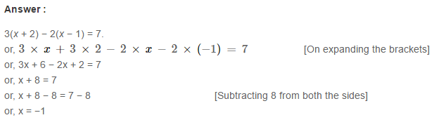 Linear Equation In One Variable RS Aggarwal Class 6 Maths Solutions CCE Test Paper 7.1