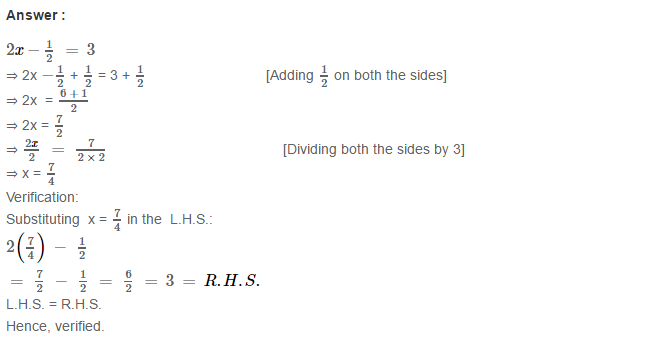 Linear Equation In One Variable RS Aggarwal Class 6 Maths Solutions Ex 9B 10.1