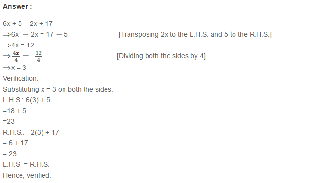 Linear Equation In One Variable RS Aggarwal Class 6 Maths Solutions Ex 9B 12.1
