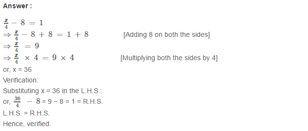 Linear Equation In One Variable RS Aggarwal Class 6 Maths Solutions Ex 9B 13.1