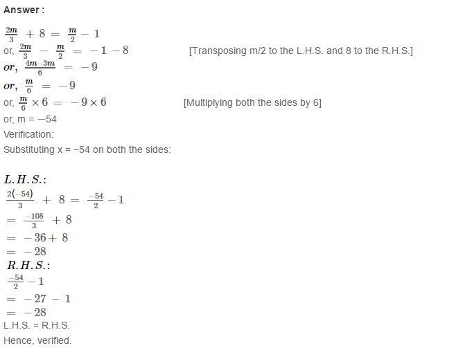 Linear Equation In One Variable RS Aggarwal Class 6 Maths Solutions Ex 9B 22.1