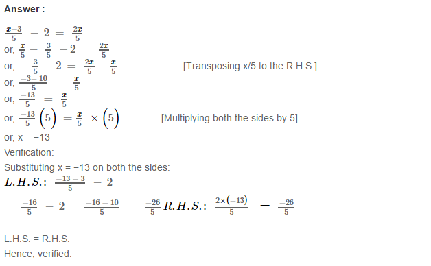 Linear Equation In One Variable RS Aggarwal Class 6 Maths Solutions Ex 9B 24.1