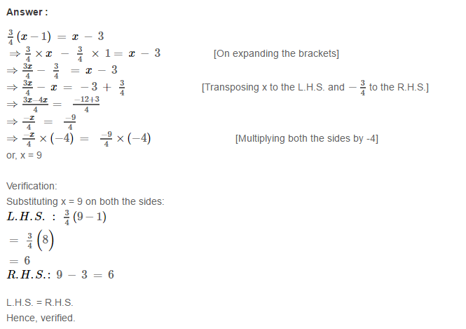 Linear Equation In One Variable RS Aggarwal Class 6 Maths Solutions Ex 9B 26.1