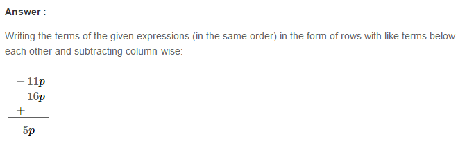 Operations On Algebraic Expressions RS Aggarwal Class 8 Maths Solutions Ex 6A 12.1