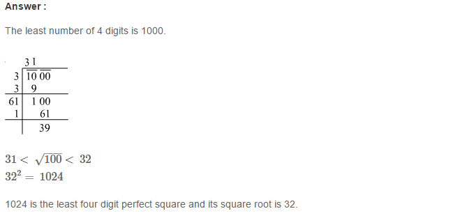 Squares and Square Roots RS Aggarwal Class 8 Maths Solutions CCE Test Paper 3.1