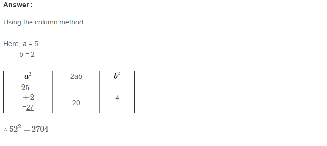 Squares and Square Roots RS Aggarwal Class 8 Maths Solutions Exercise 3C 3.1