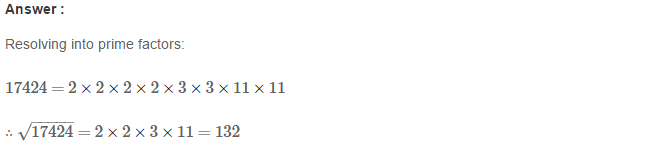 Squares and Square Roots RS Aggarwal Class 8 Maths Solutions Exercise 3D 12.1