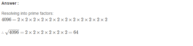 Squares and Square Roots RS Aggarwal Class 8 Maths Solutions Exercise 3D 6.1