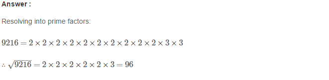 Squares and Square Roots RS Aggarwal Class 8 Maths Solutions Exercise 3D 9.1