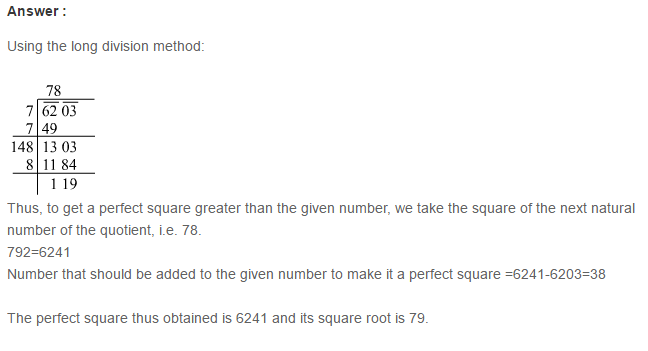 Squares and Square Roots RS Aggarwal Class 8 Maths Solutions Exercise 3E 15.1