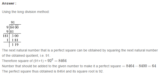Squares and Square Roots RS Aggarwal Class 8 Maths Solutions Exercise 3E 16.1
