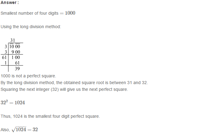 Squares and Square Roots RS Aggarwal Class 8 Maths Solutions Exercise 3E 17.1