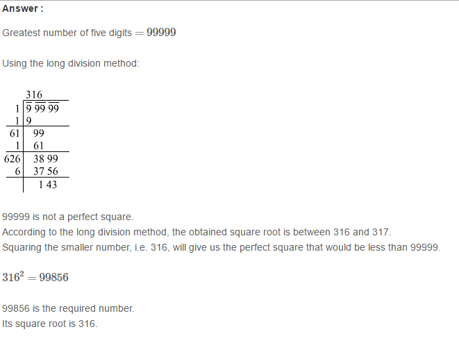 Squares and Square Roots RS Aggarwal Class 8 Maths Solutions Exercise 3E 18.1