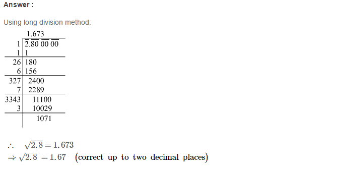 Squares and Square Roots RS Aggarwal Class 8 Maths Solutions Exercise 3F 10.1