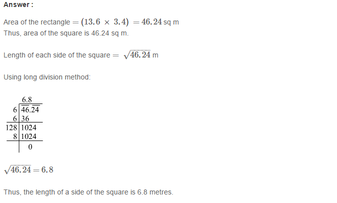 Squares and Square Roots RS Aggarwal Class 8 Maths Solutions Exercise 3F 12.1