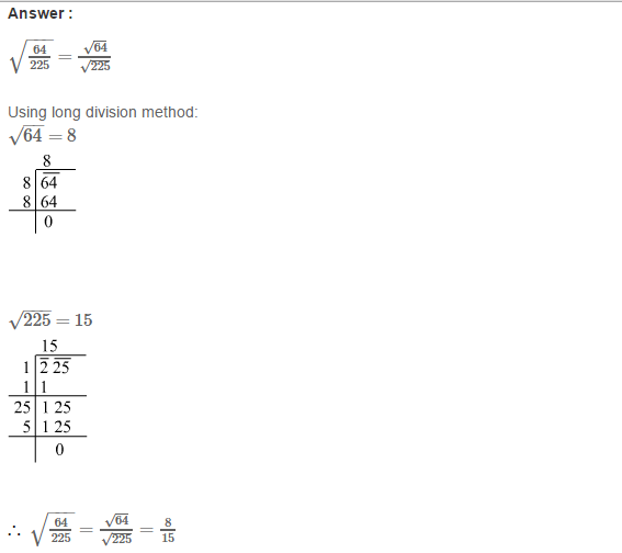 Squares and Square Roots RS Aggarwal Class 8 Maths Solutions Exercise 3G 2.1