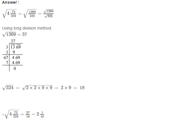 Squares and Square Roots RS Aggarwal Class 8 Maths Solutions Exercise 3G 6.1